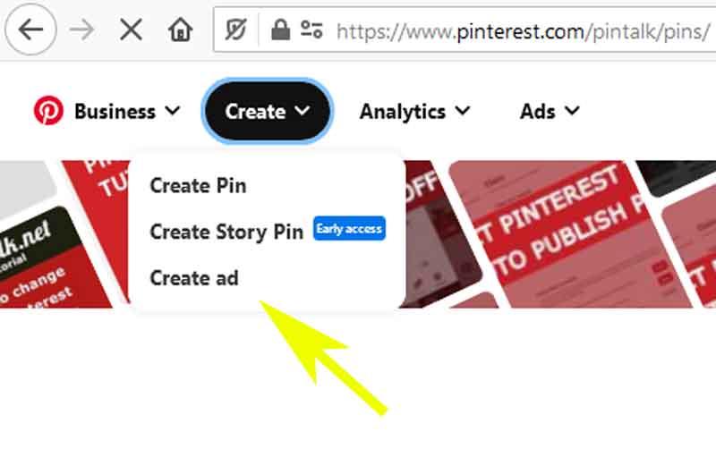 Advertise Pinterest Web