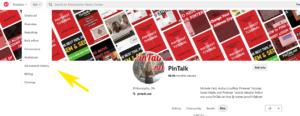 Pintalk Pinterest Analytics Menu