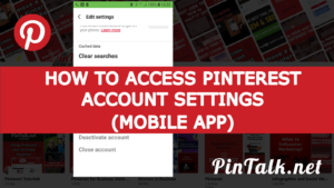 Pinterest Account Settings Mobile App