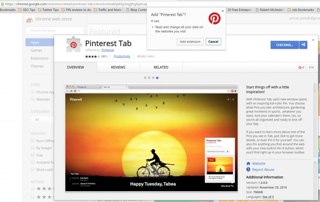 Pinterest Tab navigation